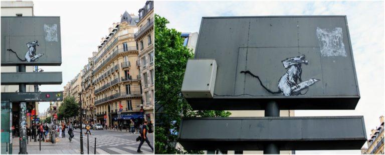 《バンクシーのネズミ》パリのポンピドゥーセンター裏