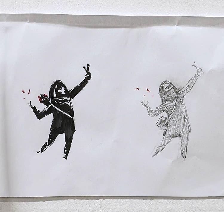 英ブリストルのバートンヒルで見つかったバンクシー作パチンコを放つ少女の下絵①