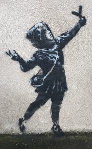 バレンタインデーに英ブリストルで見つかったバンクシーの女の子