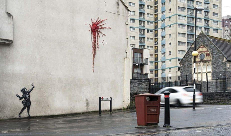 英ブリストルで落書きされたバンクシーの壁画