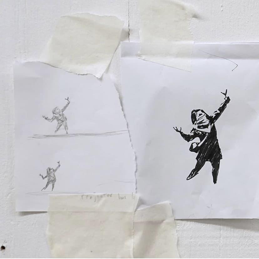 英ブリストルのバートンヒルで見つかったバンクシー作パチンコを放つ少女の下絵②