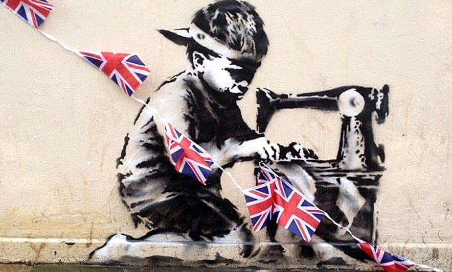 ロンドンの壁から盗まれたバンクシーの奴隷労働者