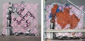 パリで落書きされたバンクシーの壁画