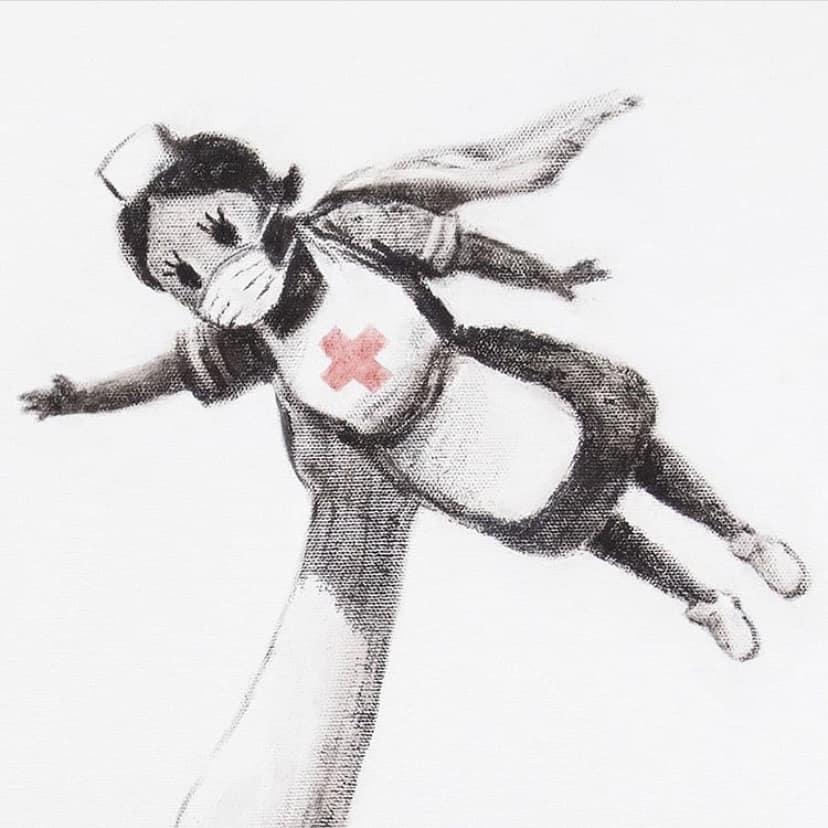 【バンクシーのゲームチェンジャー】マスクをした黒い肌の空飛ぶ看護師