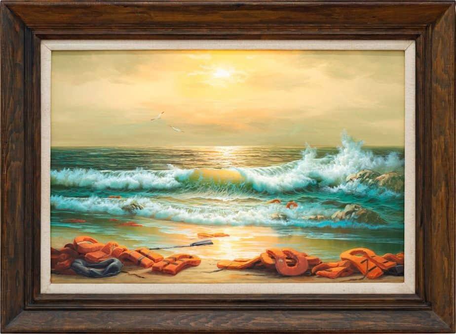 Banksy「MEDITERRANEAN SEA VIEW 2017」LIFE JACKETS TRIPTYCH 2(ライフジャケットの三連作2)