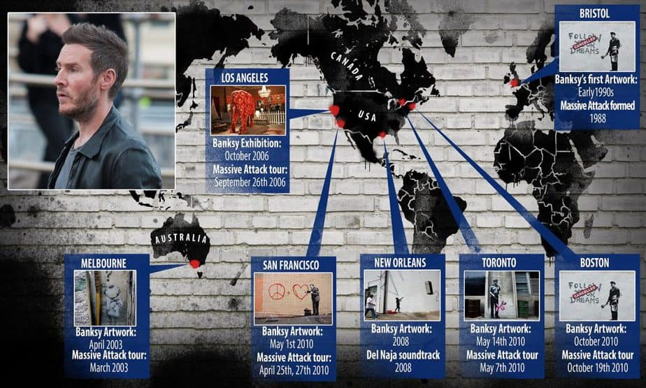 ロバート デル ナジャはバンクシーなのか(バンクシーのステンシルとマッシブ・アタックのツアー相関図)